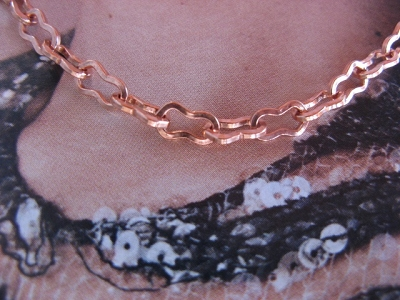 22 inch Length Solid Copper Chain CN114G - 5/32  of an inch wide