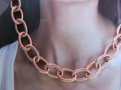 24 Inch Length Solid Copper Chain CN621G -  3/16 of an inch wide
