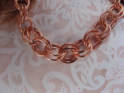 22 inch Length Solid Copper Chain CN628G - 1/4 of an inch wide