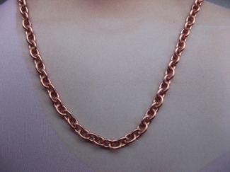 22 inch Length Solid Copper Chain CN723G - 1/8 of an inch wide