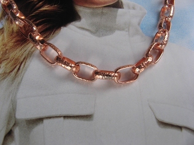 22 Inch Length Solid Copper Chain CN724G -  3/16 of an inch wide.