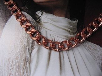 22 inch Length Solid Copper Chain CN731G - 1/4 of an inch wide