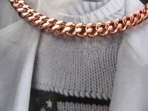 22 Inch Length Solid Copper Chain CN789G - 3/16 of an inch wide