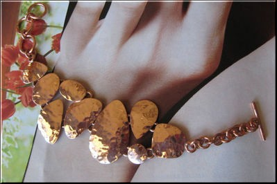 Ladies Solid Copper 8 Inch Bracelet CB918E - 1 inch wide
