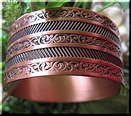 Women's 7 Inch Solid Copper Cuff Bracelet CB0651C1- 1 inch wide.