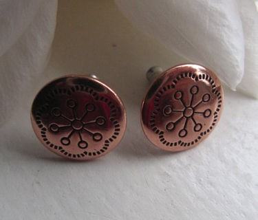 Copper Stud Earrings CE016 - 1/2 an inch round