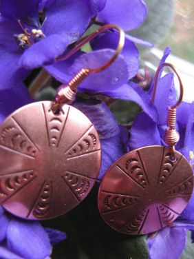 Solid Copper Earrings  CE0152C2 - 1 inch round.