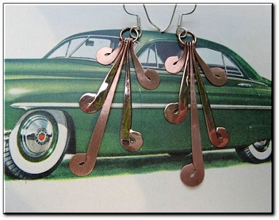 Solid Copper Earrings  CE1195E - 2 1/2 inches long.