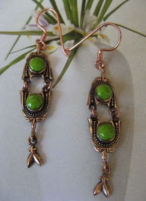 Solid Copper Earrings  CE1961- 2  inches long.