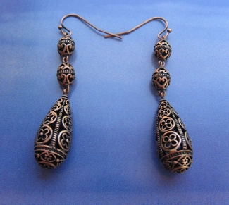Solid Copper Earrings  CE2618 - 2 1/4 inches long.
