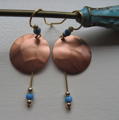 Copper Earrings #CE3152D62T -  2 1/4 inches long.