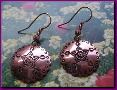 Solid Copper Earrings  CE3820C24 - 7/8 of an  inch round.