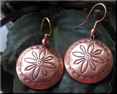 Solid Copper Earrings   CE3821C2 - 1 1/8 inches round