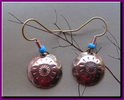 Copper Earrings #CE6344C2T - 1 1/2 inches round.