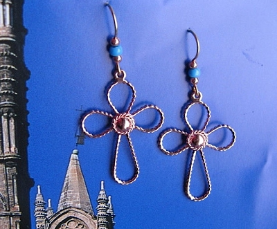 Solid Copper Cross Earrings  CE6999D6T - 1 1/2 inches long.