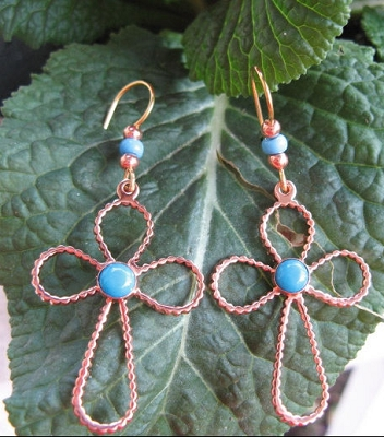 Solid Copper Cross Earrings  CE7000D6T - 2 inches long.