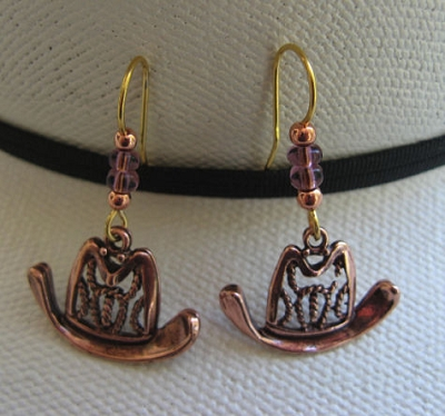 Solid Copper Earrings  CE8186C9A - 1 1/2 inches long.