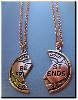 Copper Pendant and Chain Best Friends Charm Set #CN215