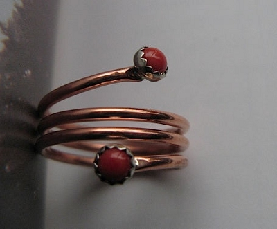 Copper and Sterling Silver Ring CR148 - Size 6 - 5/16 of an inch wide
