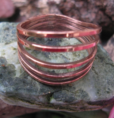 Copper Ring CR711- Size 8 1/2 - 1/2 an inch wide.
