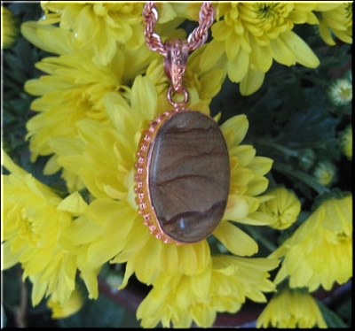 Solid Copper Agate Stone Pendant and 20 Inch Chain Set CP242