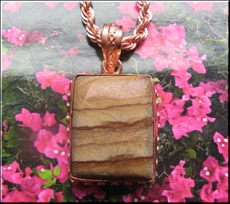 Solid Copper Agate Stone Pendant and 20 Inch Chain Set CP810