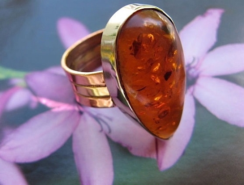 Copper and Nickel Amber Stone Band Size 8 Ring  #CR443I - 1/2 an inch wide.
