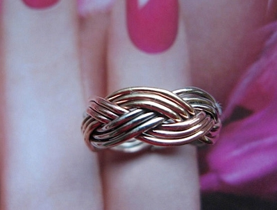 Tri - Metal  Ring CR139 - Size 9 - 1/4 of an inch wide.