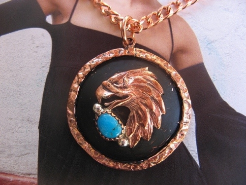 Solid Copper Turquoise Stone Pendant and 20 Inch Chain Set CP30SLL