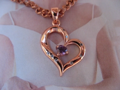 Solid Copper Stone Pendant and 20 Inch Chain Set CPD2962