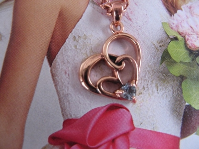 Copper Heart with Blue Topaz Stone Pendant and Chain Set #2974