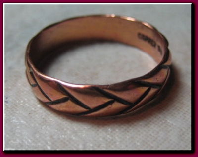 Copper Ring CR017 Size 5 - 3/16  of an inch wide.