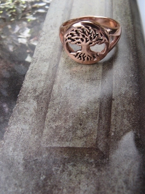 Copper Tree of Life Ring CRI1276 - Size 8 - 1/2 an inch round