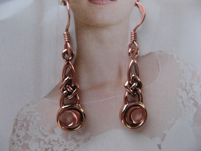 Solid Copper Celtic Knot Earrings #CTE1125