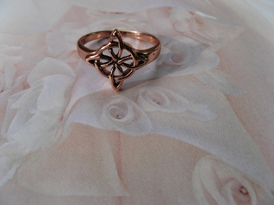 Copper Celtic Knot Ring CTR3323 - Size 8 - 9/16 of an inch wide.