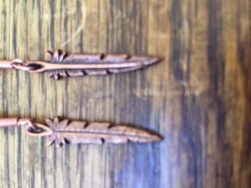 Solid Copper Earrings  CE111- 1 1/4 inches long.