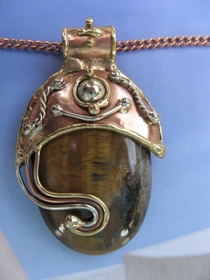 Solid Copper, nickel and brass Pendant with a Tiger's Eye stone and a 20 Inch Chain Set CP311B-JZ - Very large pendant.