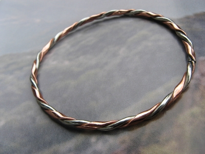 Copper and Nickel Bangle Bracelet 0906M2