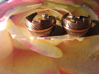 Solid Copper Hoop Earrings CE6524CO  -  3/4 of an inch in diameter.