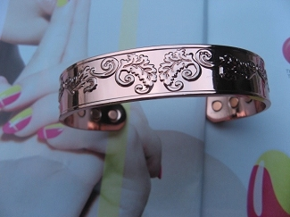 Ladies 8 Inch Solid Copper Magnetic Cuff Bracelet CBM896L- 5/8 of an inch wide.