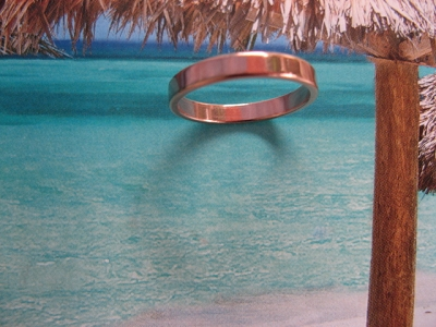 Solid Copper Band Ring CR42T - Size 4 - 3mm wide - 1/8 of an inch wide.