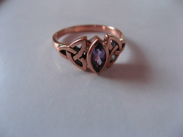 Solid copper Celtic Knot band  with Amethyst+ stone Size 9 ring CTR114AM- 1/4 of an inch wide.