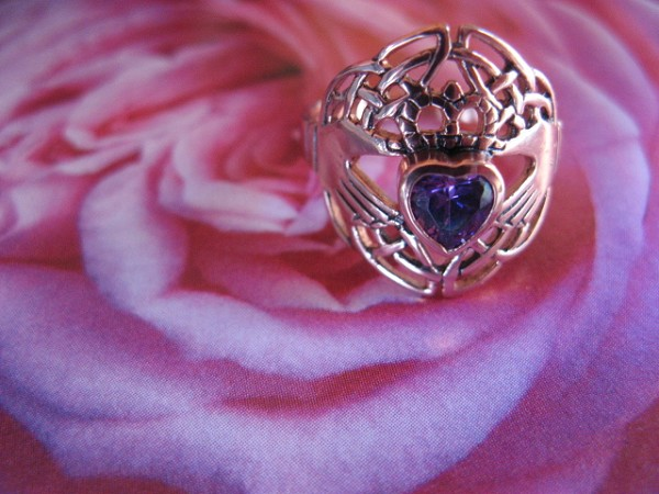 Solid copper Celtic Claddagh Genuine Amethyst Stone size 5 ring CTR1876 - 5/8 of an inch wide.