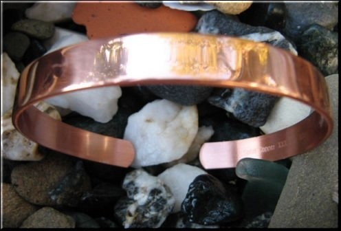 Men's 11 Inch Solid Copper Cuff Bracelet CB6663DX3 - 3/8 of an inch wide.