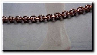 Solid Copper Anklet CA601G - 1/8 of an inch wide - Available in 8 to 12 inch lengths