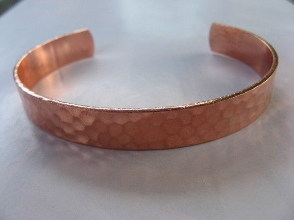 Women's 7 Inch Solid Copper Cuff Hammered Bracelet CB7155TH - 3/8 of an inch wide.