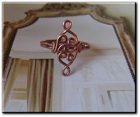 Copper Ring CR940C - Size 4 1/2 - 3/4 of an inch long.