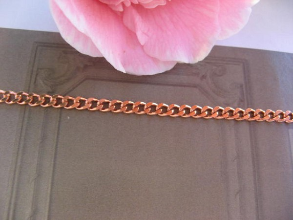 16 inch Length Solid Copper Chain CN108G - 1/8 of an inch wide