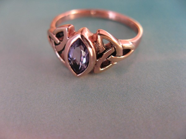 Solid copper Celtic Knot band  with an Amethyst stone Size  9 ring CTR114AM- 1/4 of an inch wide.