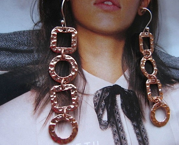 Solid Copper Earrings  CE1045E - 2 1/2 inches long.